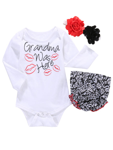 "Bilo Baby Girl ""Grandma was Here"" Cotton Top and Bloomer with Headband 3pcs Outfit Set - Bilo store"