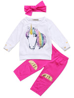 Bilo Infant Baby Girl Unicorn Cotton Long Sleeve T-Shirt, Pants with Self-tied Headband - Bilo store