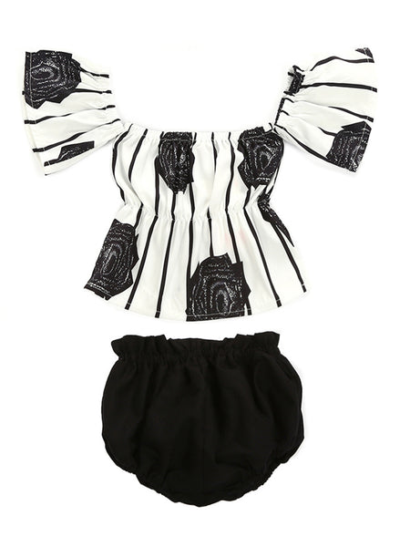 Bilo Baby Girl Flower Stripe Print Off Shoulder Sunsuit With Bloomers 2 Pcs Set - Bilo store