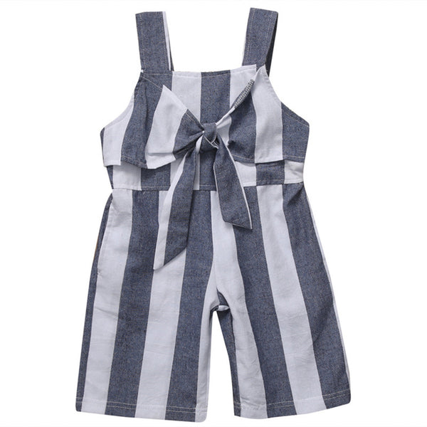 Bilo Little Girls Chic White and Grey Striped Sleeveless Wide Leg Pants Jumpsuit Summer Romper Outfit - Bilo store