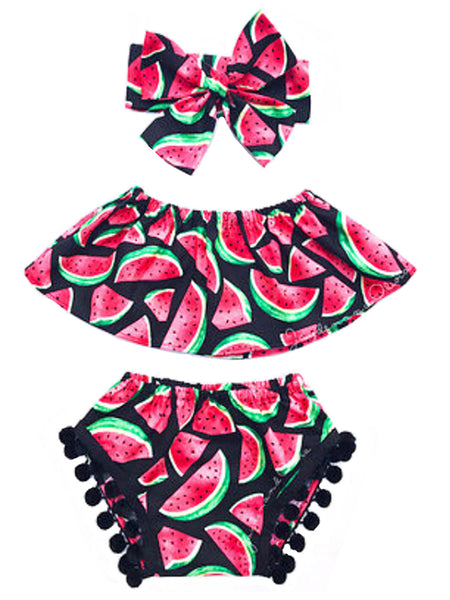 Bilo Chic and Fun Watermelon Print Top and Pompom Trim Bloomers with Matching Headband 3 pcs Sunsuit Set - Bilo store