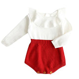 Bilo Baby Girl Autumn Knitted Ruffle Long Sleeve Princess Jumpsuit Romper - Bilo store