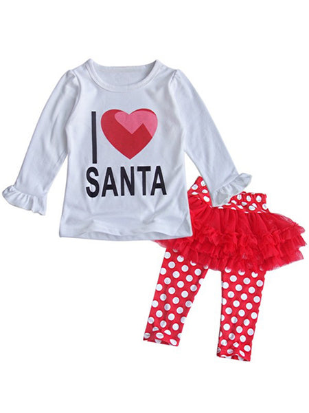 Bilo Baby Girls I Love Santa Top and Tutu Legging Holiday Clothing Set - Bilo store