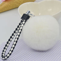 New Soft Pom Pom Rabbit Fur Ball Fluffy Ring Handbag Car Key Chain Bag accessories KeyChain - Bilo store