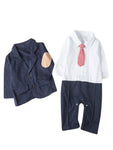 Bilo Baby Boys Blazer Long Sleeves Gentleman Romper with Necktie Outfit 2 Pieces Sets - Bilo store