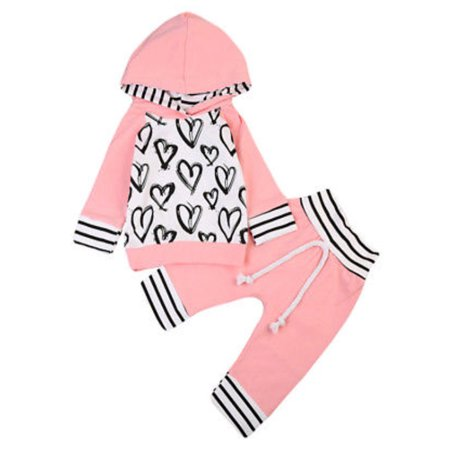 Infant Baby Girl Hand-Painting Heart Long Sleeve Hoodie and Long Pants 2 pcs Outfit - Bilo store