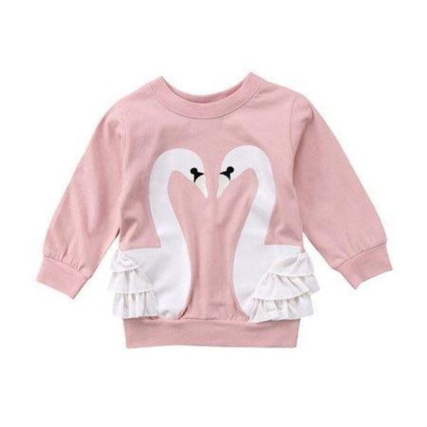 Bilo Store Baby Girls Pullover Cotton Swan Hoodies Top Tees Long Sleeve Sweater - Bilo store