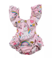 Kid Baby Girls Backless Unicorn Ruffle Romper Jumpsuit Summer Cotton Clothes - Bilo store