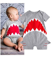 Newborn Baby Boys Shark Short Sleeve Cotton Jumpsuit Romper - Bilo store