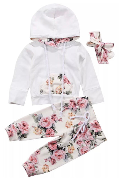 Baby Girls Clothing Set Long Sleeve Hoodie and Pants 3 pcs Outfit Cotton - Bilo store
