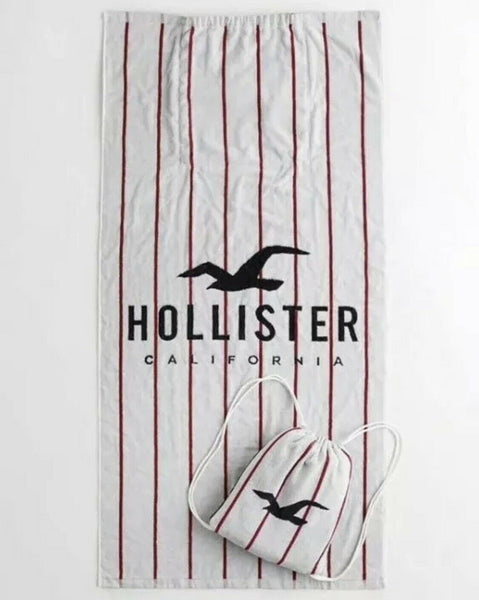 Hollister 34 X 63 Beach Towel With Hollister Logo Packable Bag Soft cotton - Bilo store