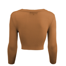 Load image into Gallery viewer, Classic Cropped Cardigan in Camel