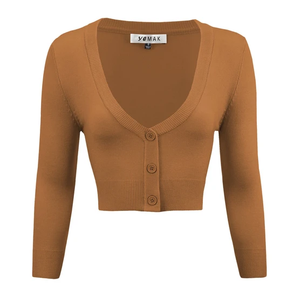 Classic Cropped Cardigan in Camel