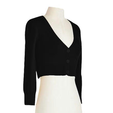 Load image into Gallery viewer, Classic Cropped Cardigan in Black