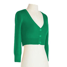 Load image into Gallery viewer, Classic Cropped Cardigan in Kelly Green