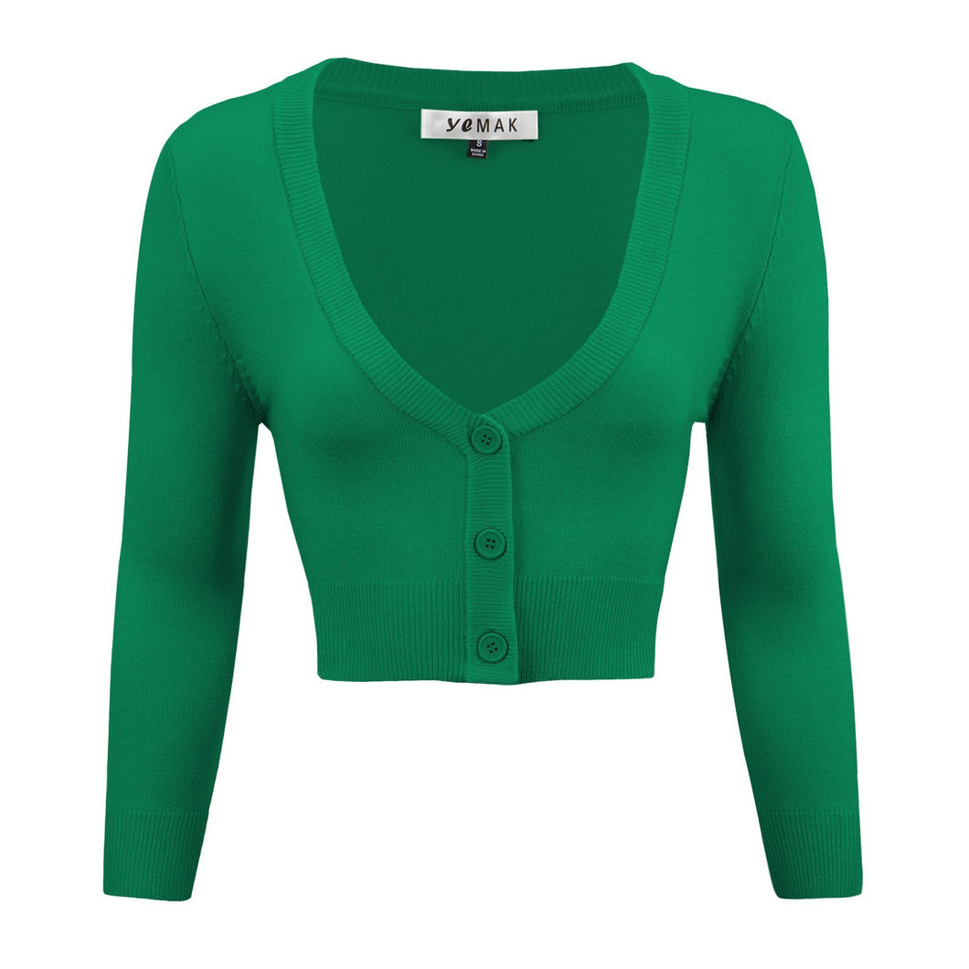Classic Cropped Cardigan in Kelly Green