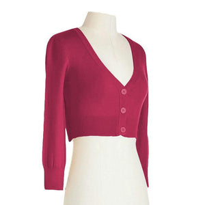 Classic Cropped Cardigan in Magenta