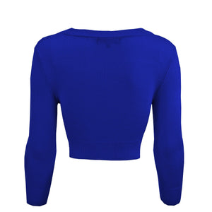 Classic Cropped Cardigan in Royal Blue