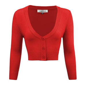 Classic Cropped Cardigan in Tomato