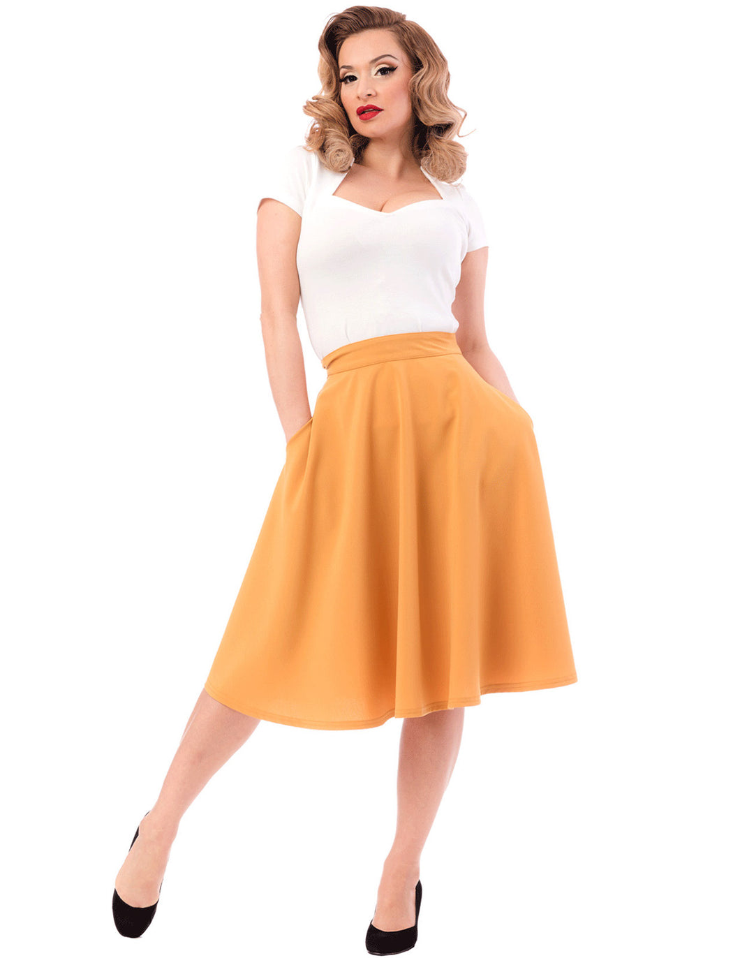 Pocket Circle Skirt in Mustard