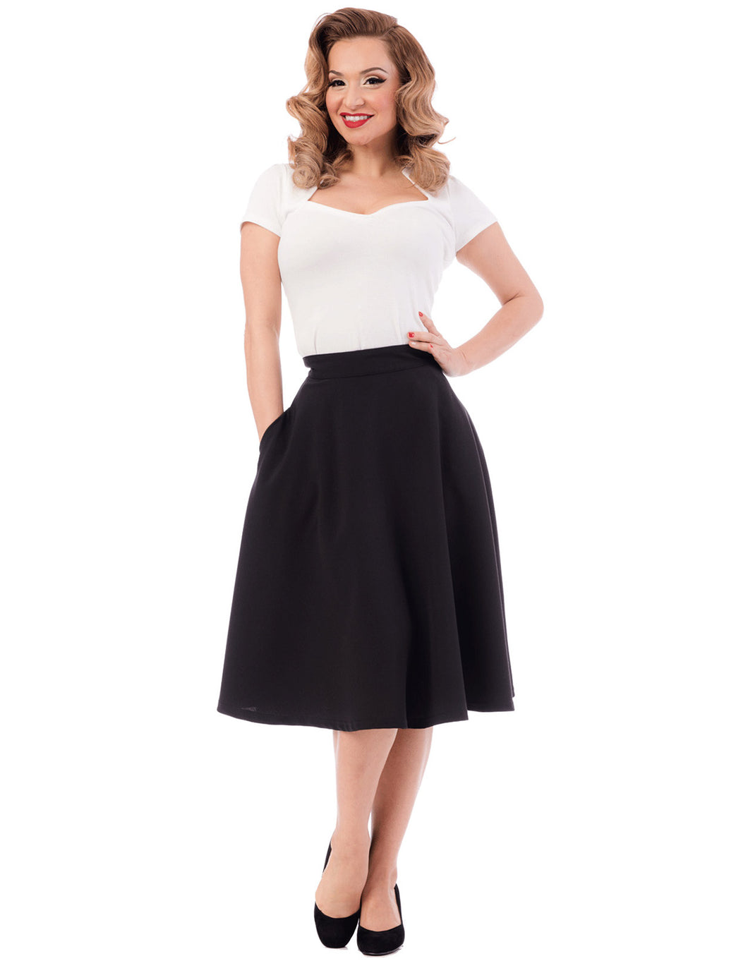 Pocket Circle Skirt in Black