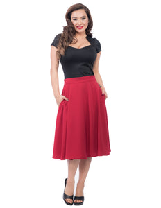 Pocket Circle Skirt in Red