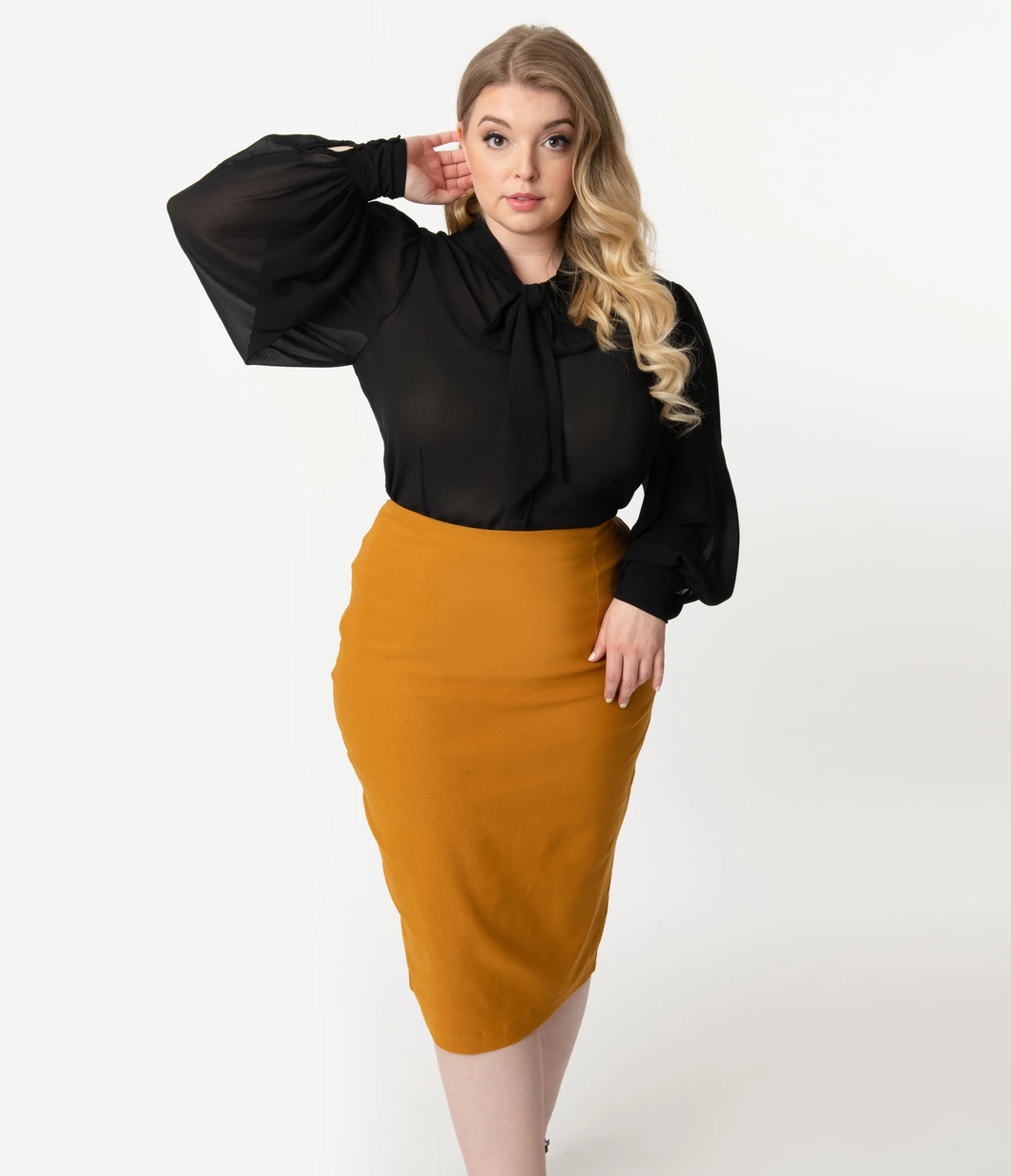 Tracy Wiggle Skirt in Mustard
