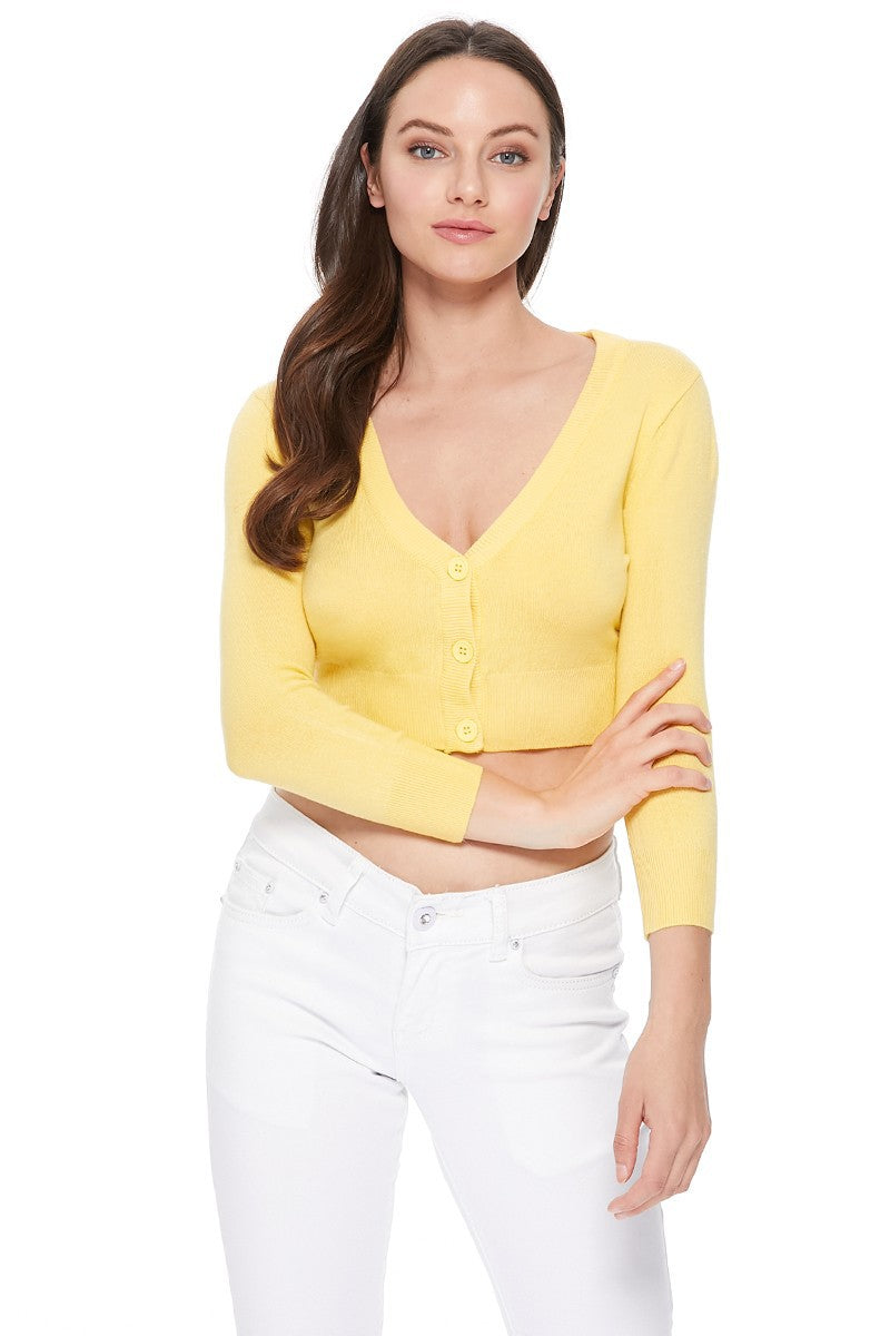 Classic Cropped Cardigan in Baby Yellow