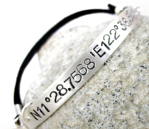 Customizable Geographical Location - Sterling Silver Bracelet with Suede Cord