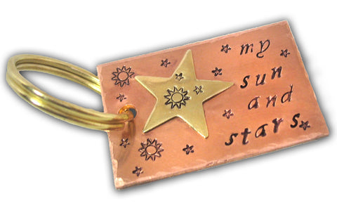 My Sun and Stars - Hand Stamped Game of Thrones Copper Keychain