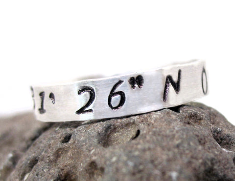 221B Baker Street Coordinates - Sterling Silver Narrow Stacking Ring