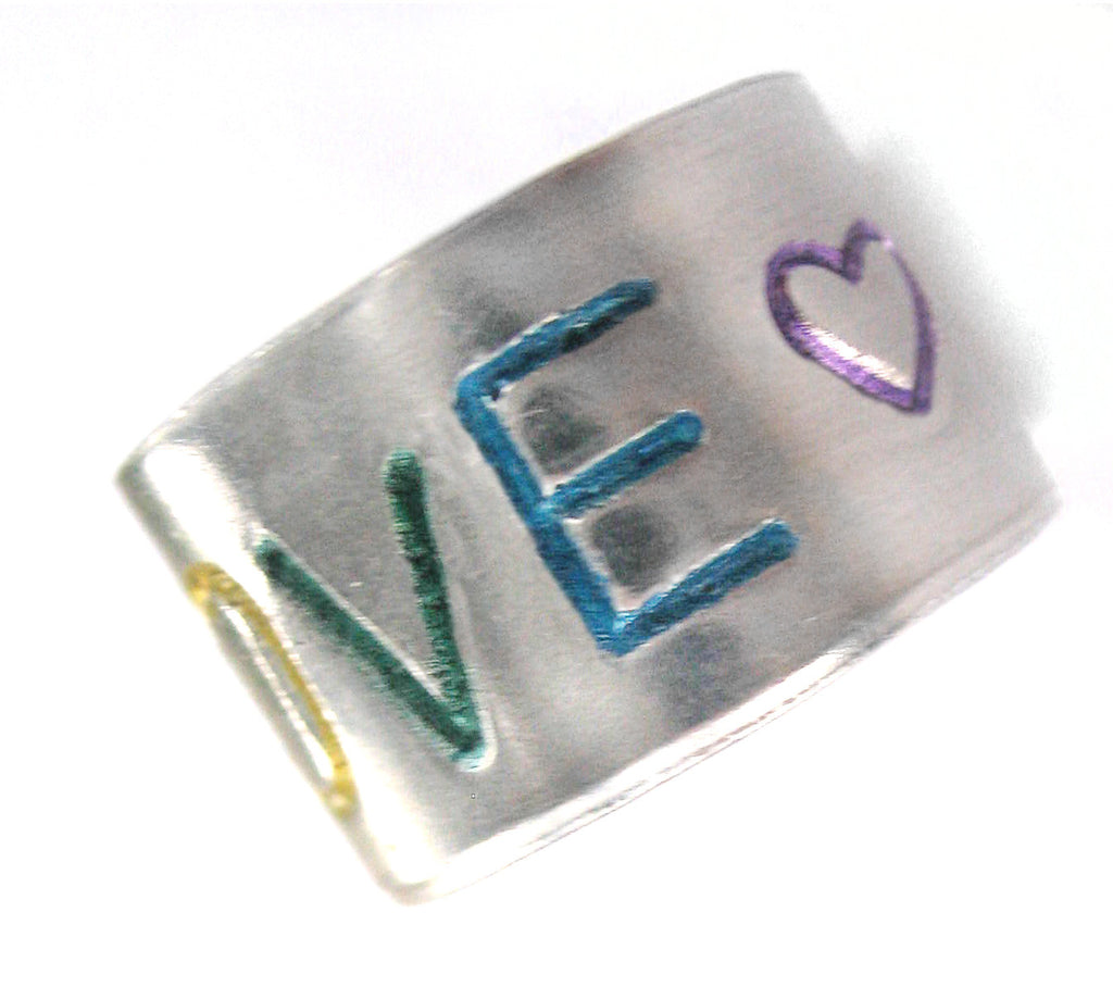 "Rainbow Love - Hand-stamped 1/2"" Aluminum Ring"