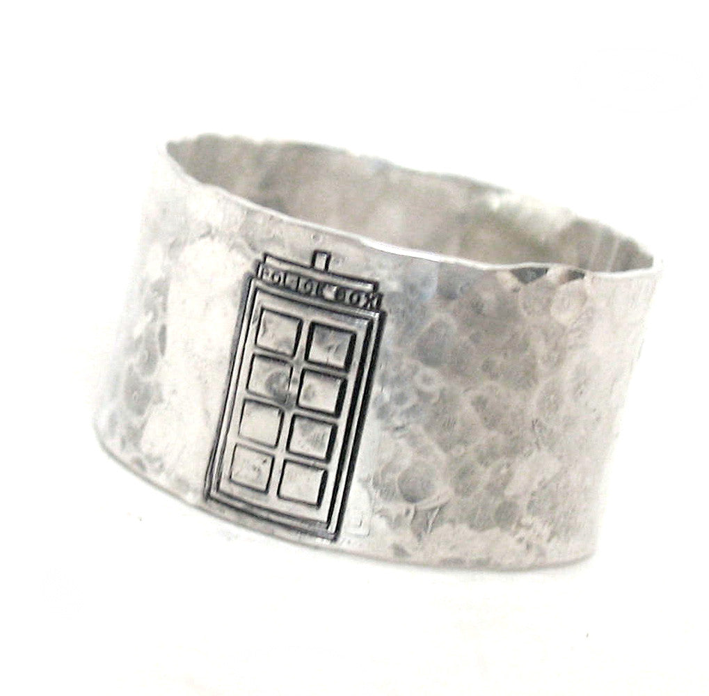 "Tardis - Sterling Silver Soldered 1/2"" Ring w/Hammered Finish"