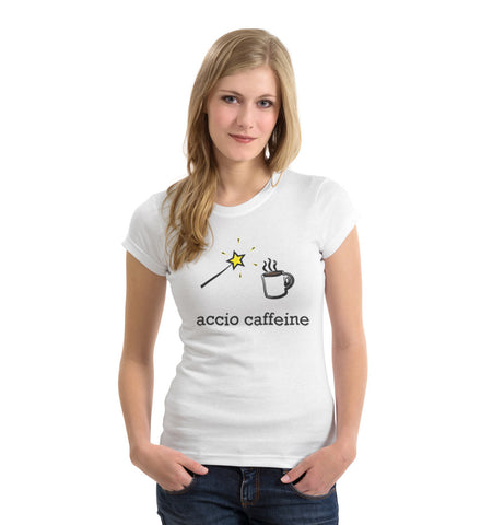 Accio Caffeine - Unisex White Cotton T-Shirt