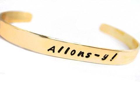 "Allons-y! - Doctor Who Inspired 1/4"" Brass Bracelet"