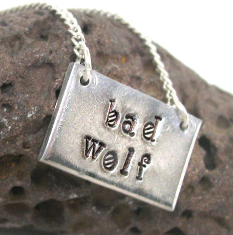 Bad Wolf - Hand Stamped Aluminum Doctor Who Necklace