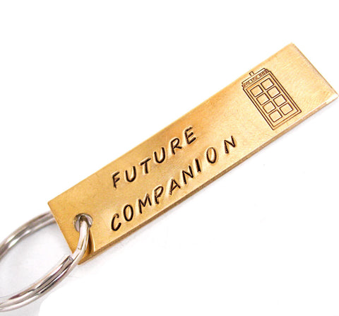 Future Companion - Red Brass Doctor Who Keychain w/Tardis
