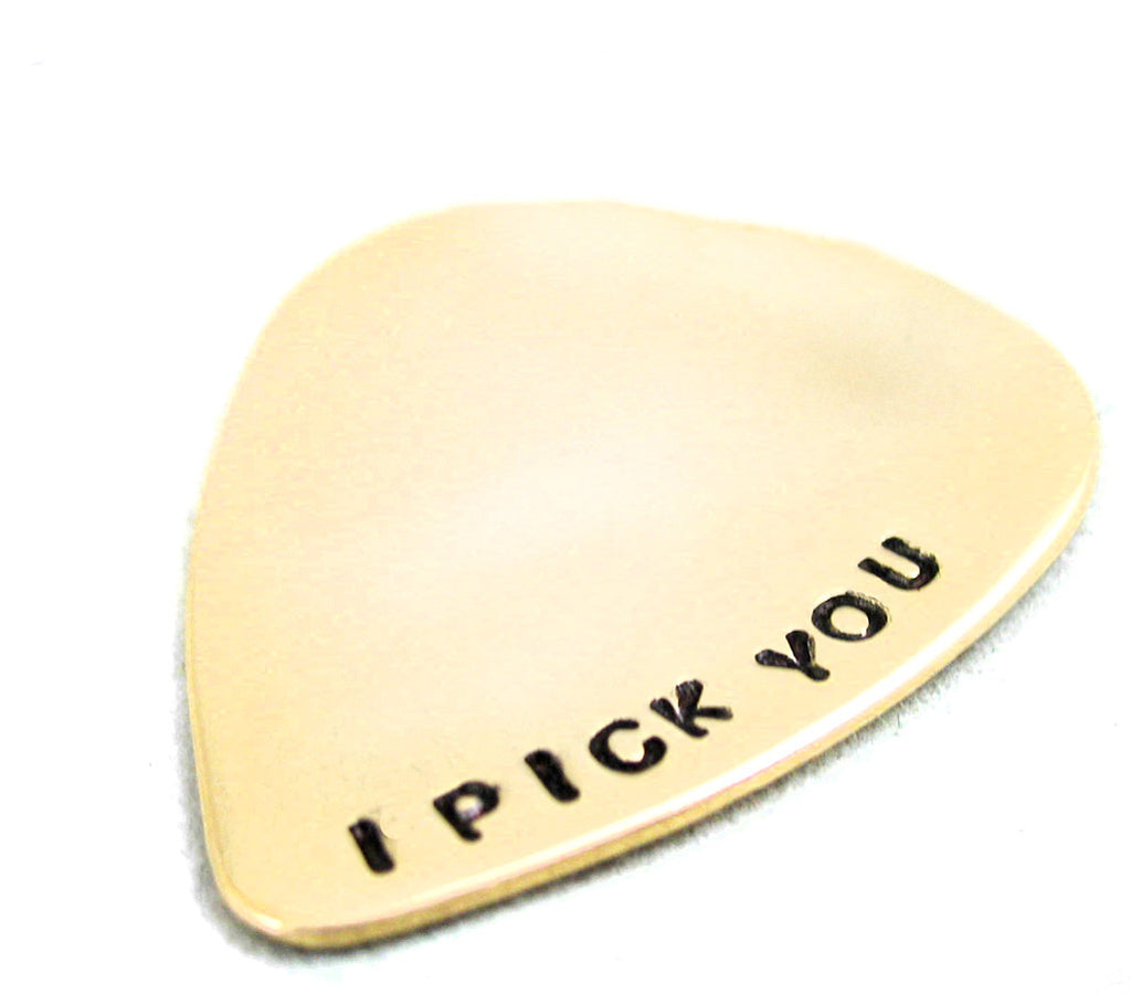 I Pick You - Brass Guitar Pick Pendant
