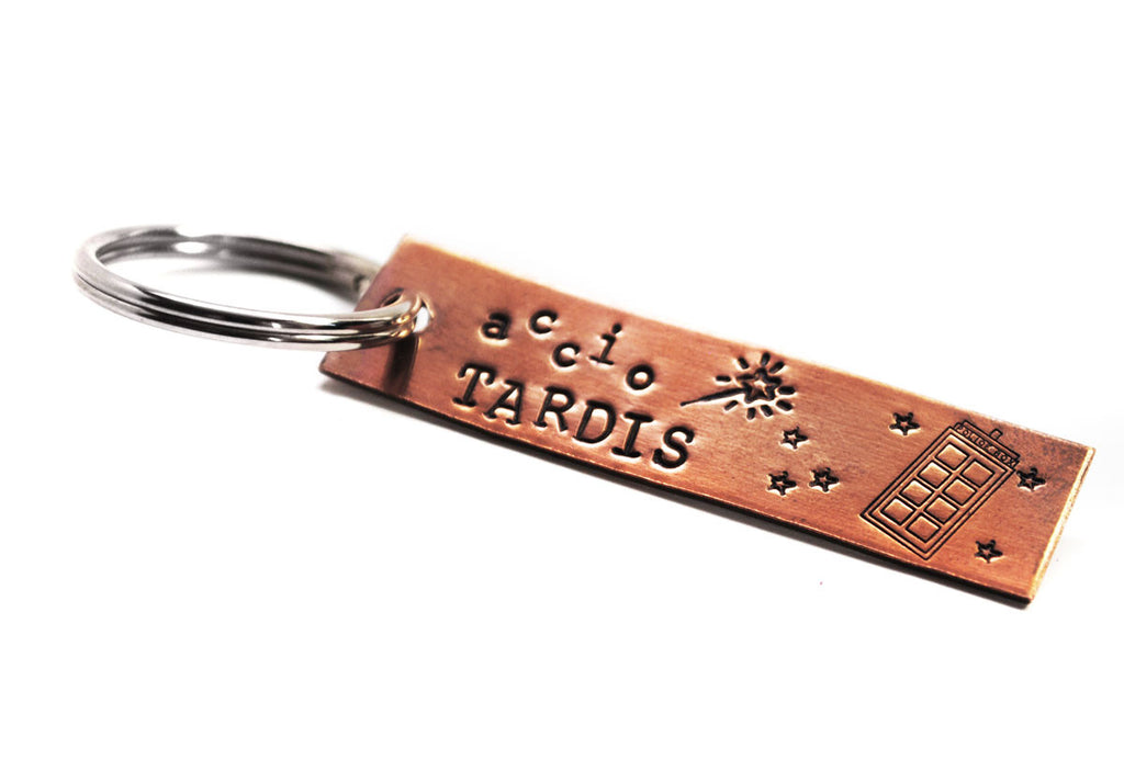 "Accio TARDIS - Hand Stamped 1/2"" x2"" Copper Keychain, Fandom Crossover - Doctor Who & Harry Potter Inspired"
