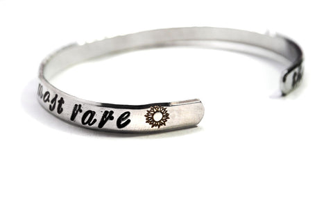 The Flower That Blooms In Adversity Is Most Rare - Disney's Mulan Inspired Handstamped Aluminum Bracelet