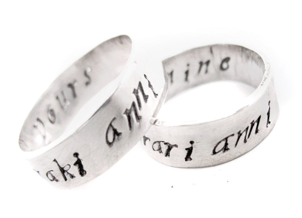 My Sun and Stars/Moon of My Life - Sterling Silver Dothraki Rings w/Inner Inscription
