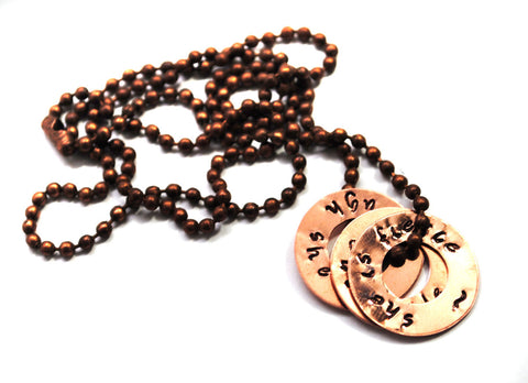 Though She Be But Little, She is Fierce - Shakespeare Inspired Copper Washer Necklace on Copper Ball Chain