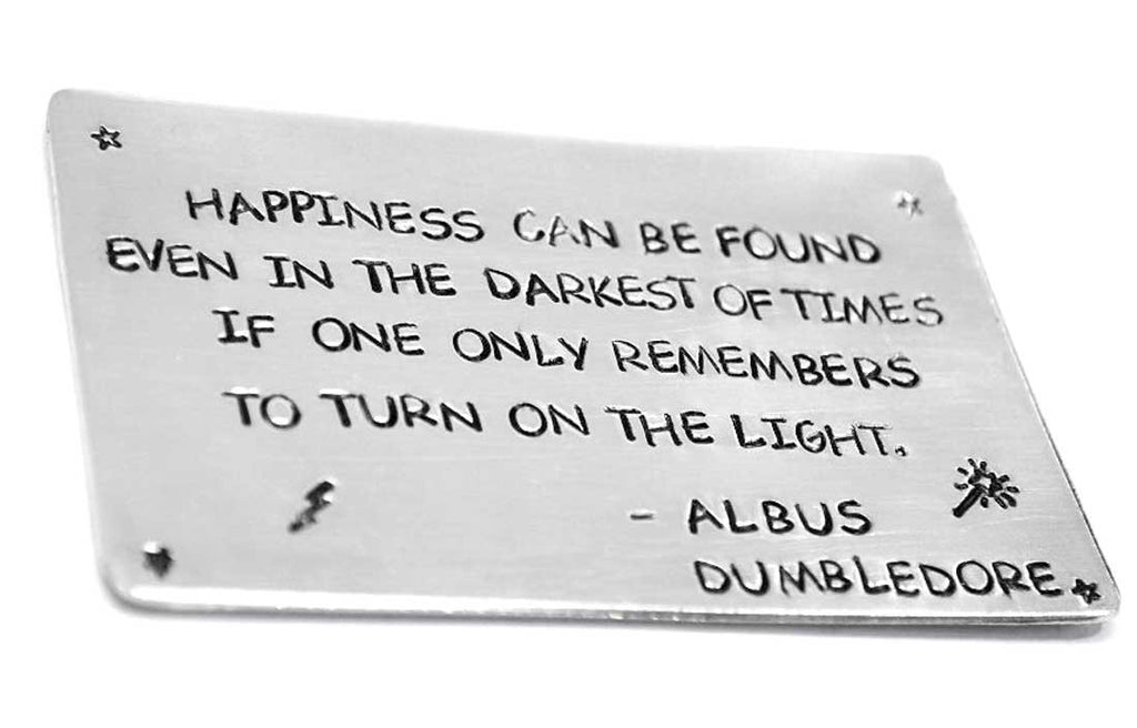 Dumbledore Quote - Happiness Can Be Found - Harry Potter Aluminum Wallet Insert, Card Sized