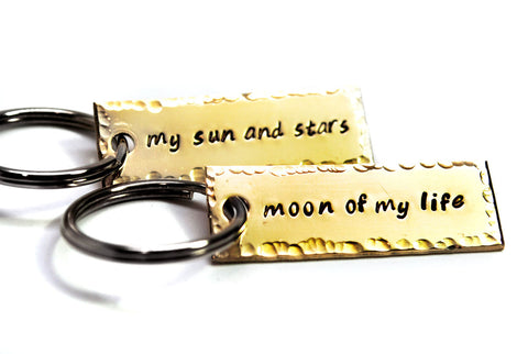 My Sun and Stars/Moon of My Life - Game of Thrones Brass Keychains w/Hammered finish