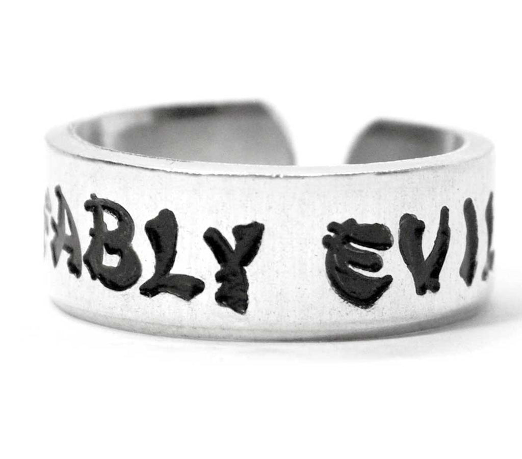 Affably Evil - TV Tropes Hand Stamped Aluminum Ring, Adjustable & Hypoallergenic