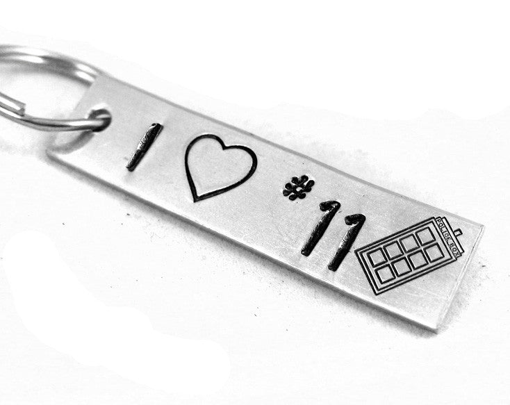 I Heart #11 - Hand Stamped Aluminum Keychain - Docrot Who Inspired