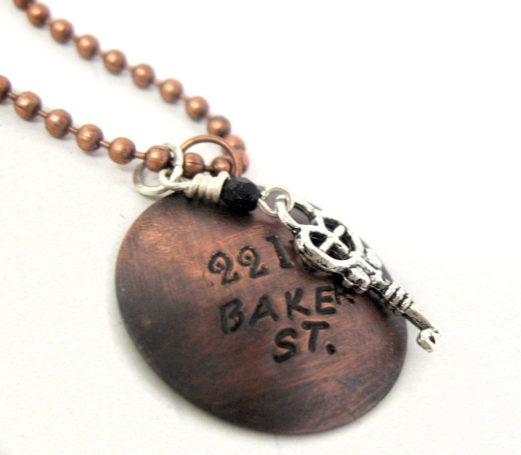 221B Baker St - Sherlock Inspired, Hand Stamped Antiqued Copper Necklace with Key Charm