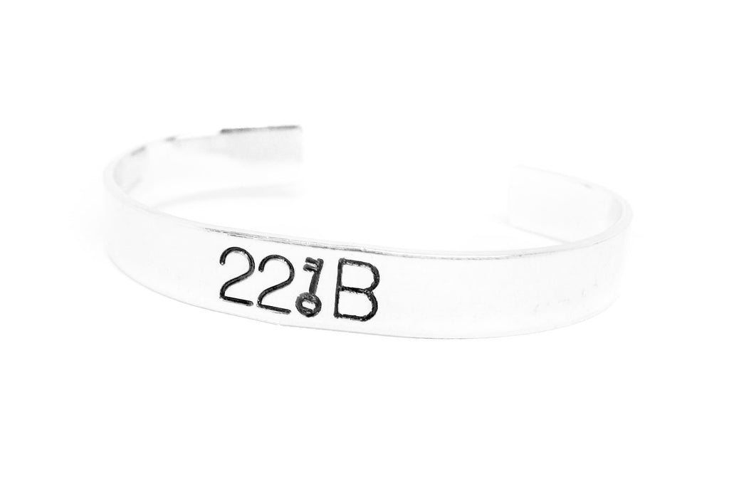 "221B - Sherlock Inspired, Hand Stamped Aluminum 1/2"" Bracelet with Key Design"