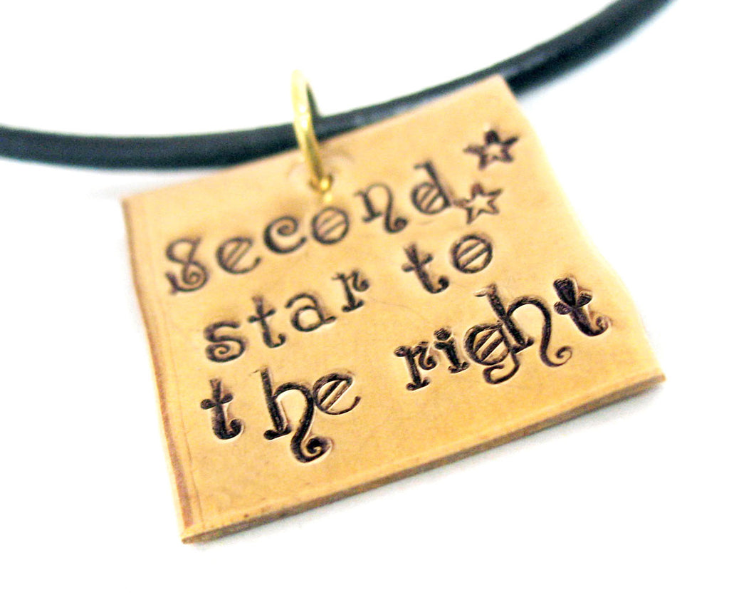 Second Star to the Right - Handstamped Brass Square Necklace on Black Leather Cord - Peter Pan Inspired