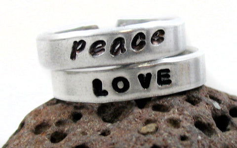 "Peace and Love 3/16"" Handstamped Aluminum Stacking Ring Set - Skinny, Adjustable Bands"